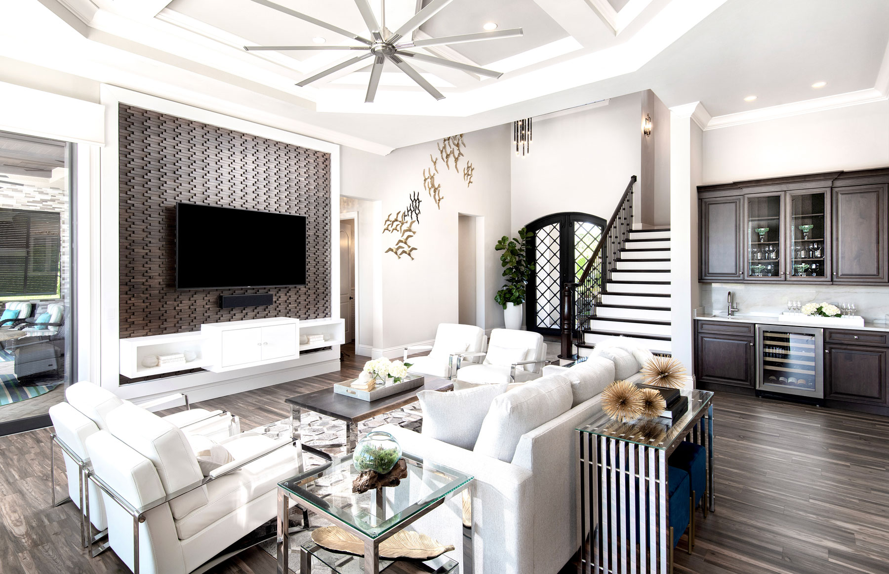 white brown living area