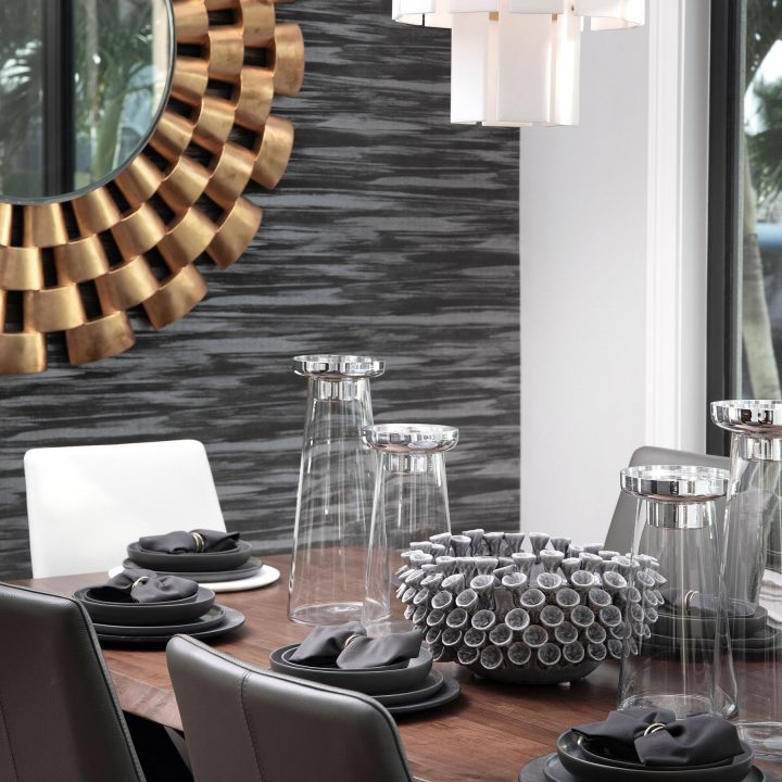 gold and gray dining area